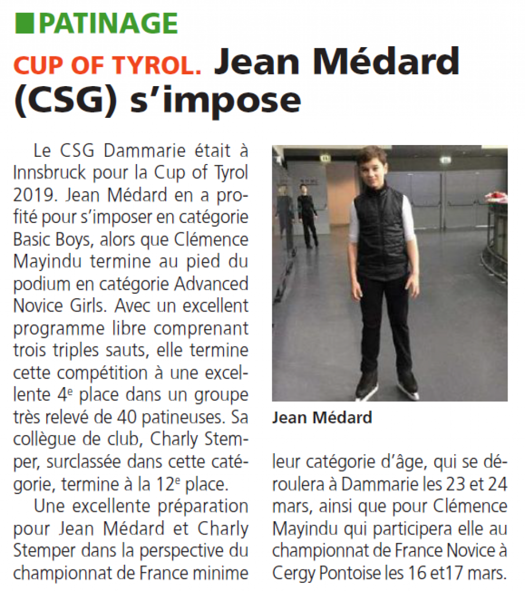 Cup of Tyrol - Jean Médard s\'impose