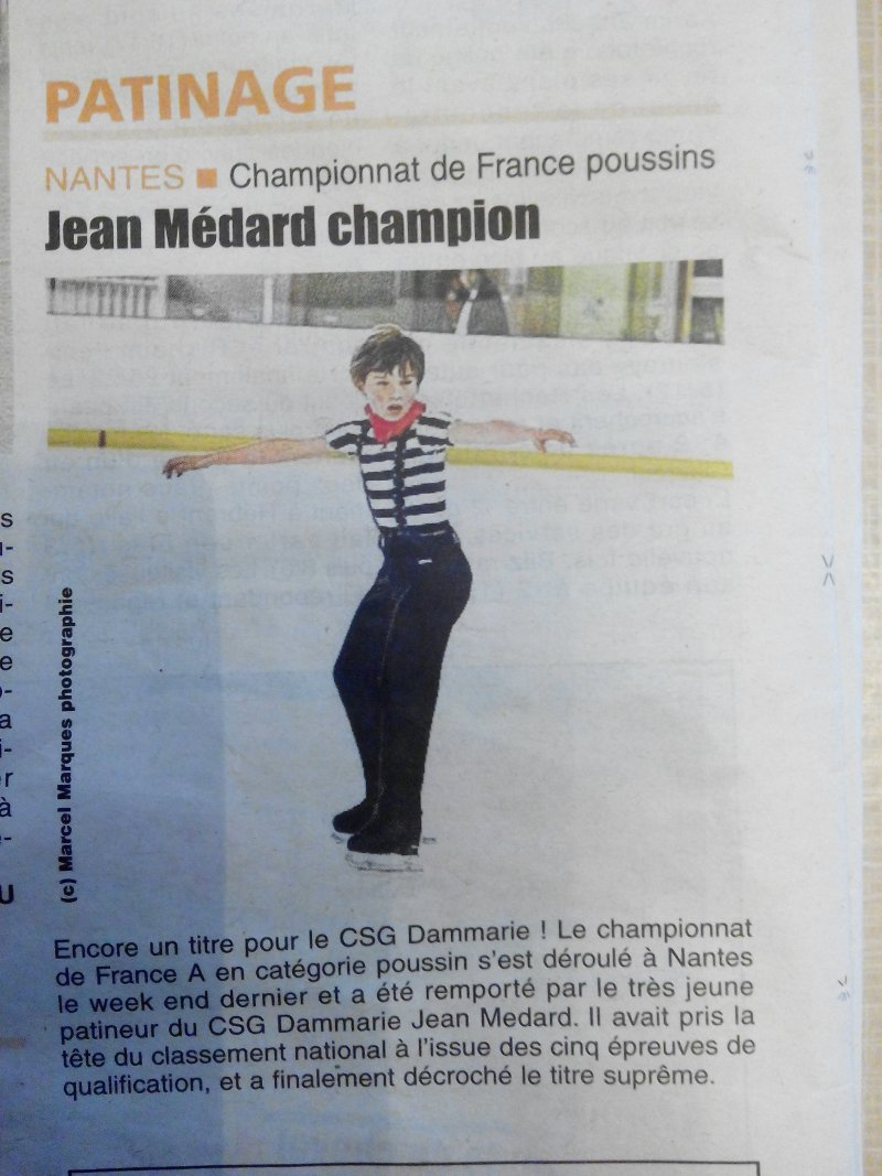 Jean Médard champion de France poussins